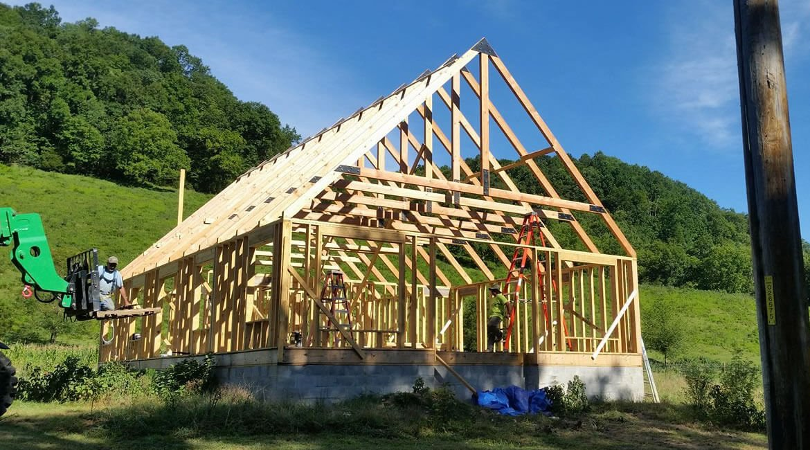 Timber frame building in California-posed Timber truss design - timber frame home