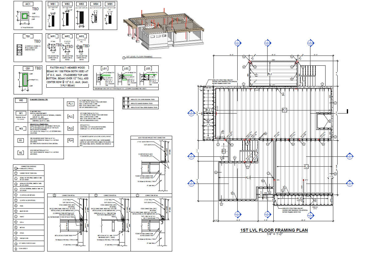 Wood structure home Florida- Floor framing plan